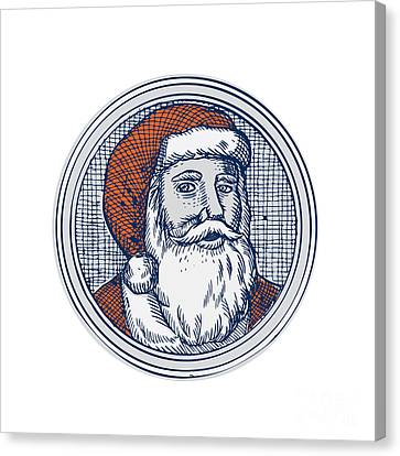 Santa Claus Father Christmas Vintage Etching Canvas Print by Aloysius Patrimonio