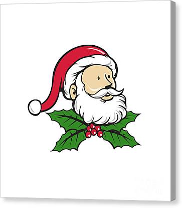 Santa Claus Father Head Christmas Holly Cartoon Canvas Print by Aloysius Patrimonio