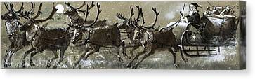 Santa Claus In His Sleigh Canvas Print by English School