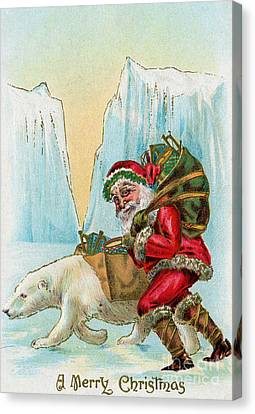 Santa Claus With A Polar Bear At The North Pole Canvas Print by American School