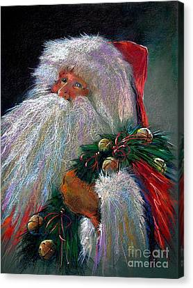 Santa Claus With Sleigh Bells And Wreath  Canvas Print by Shelley Schoenherr