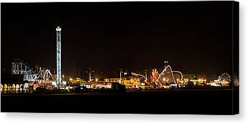 Santa Cruz Boardwalk By Night Canvas Print by Brendan Reals