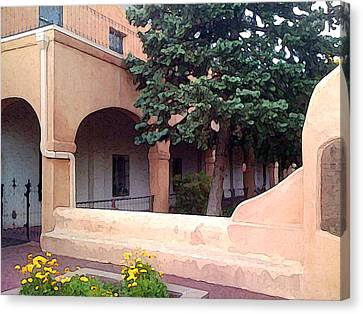 Santa Fe Church Courtyard Canvas Print by Charlie Spear