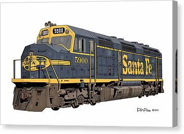 Santa Fe F45 #5900 Canvas Print by David Rice