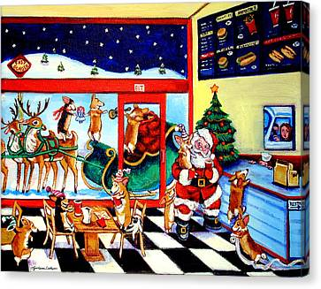 Santa Makes A Pit Stop Canvas Print by Lyn Cook