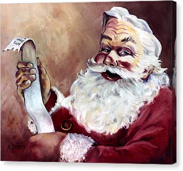 Santa With A List Canvas Print by Sheila Kinsey
