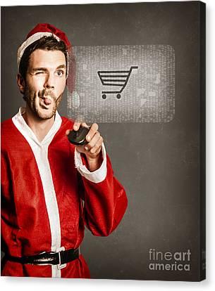 Santas Little Helper Shopping Online Canvas Print by Jorgo Photography - Wall Art Gallery