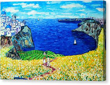Santorini Honeymoon Canvas Print by Ana Maria Edulescu