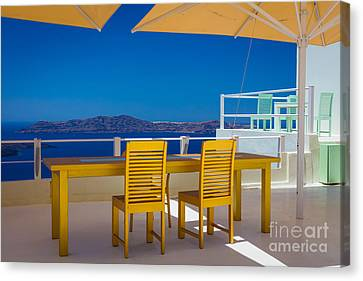 Santorini Patio Canvas Print by Inge Johnsson