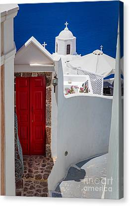 Santorini Red Door Canvas Print by Inge Johnsson