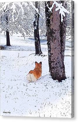 Sasha In The Snow Canvas Print by Kathy Kelly