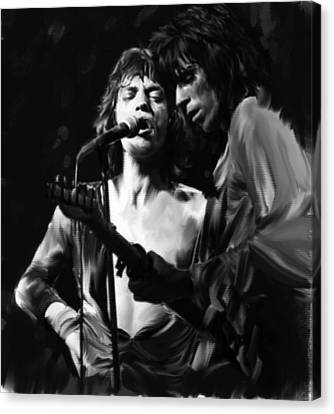 Stage Life  Mick Jagger Keith Richards Rolling Stones Canvas Print by Iconic Images Art Gallery David Pucciarelli