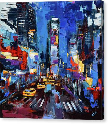 Saturday Night In Times Square Canvas Print by Elise Palmigiani