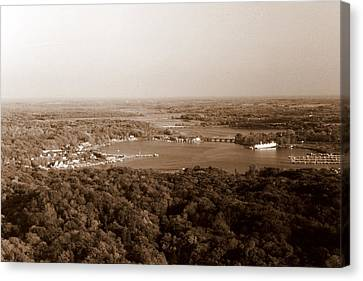 Saugatuck Michigan Harbor Aerial Photograph Canvas Print by Michelle Calkins