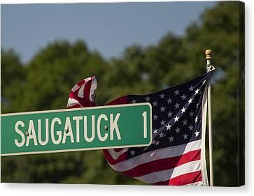 Saugatuck Street Sign Canvas Print by Stephanie McDowell