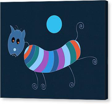 Sausage Dog In Blue Moon Canvas Print by Frank Tschakert