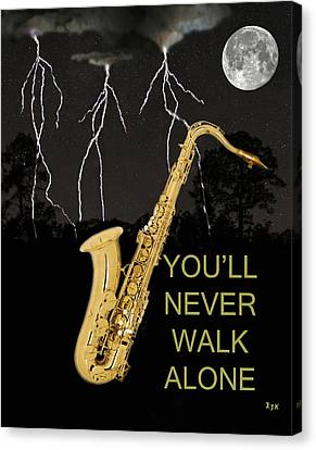Rocks Canvas Print featuring the mixed media Sax Youll Never Walk Alone by Eric Kempson