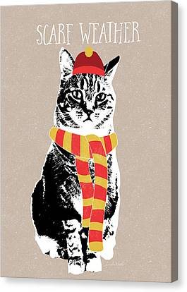 Scarf Weather Cat- Art By Linda Woods Canvas Print by Linda Woods
