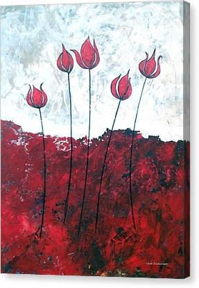 Scarlet Blooms Canvas Print by Herb Dickinson