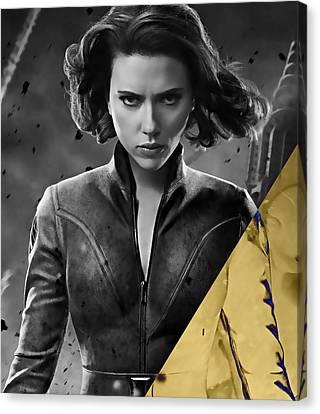 Scarlett Johansson Black Widow Collection Canvas Print by Marvin Blaine