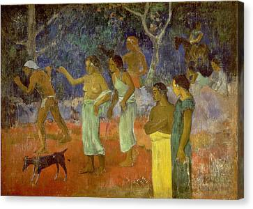 Scene From Tahitian Life Canvas Print by Paul Gauguin