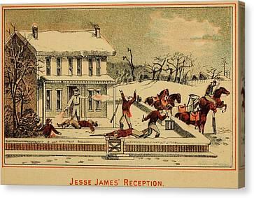 Scene Of Jesse James Shooting Six Men Canvas Print by Everett