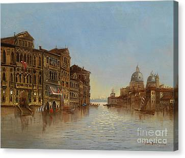 Scene Of Venice With A View Of The Santa Maria Della Salute Canvas Print by Celestial Images