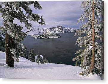 Scenic View At Crater Lake National Canvas Print by Paul Nicklen