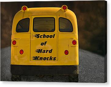 School Of Hard Knocks - Yellow School Bus Message Canvas Print by Mitch Spence
