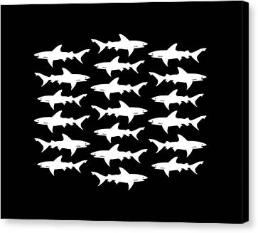School Of Sharks Black And White Canvas Print by Antique Images