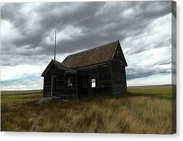 Schoolhouse On The Prairie Canvas Print by Jeff Swan