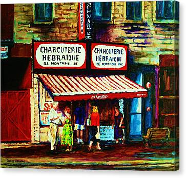 Schwartzs Famous Smoked Meat Canvas Print by Carole Spandau