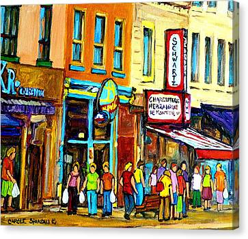 Schwartz's Hebrew Deli On St. Laurent In Montreal Canvas Print by Carole Spandau