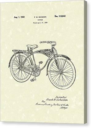 Schwinn Bicycle 1939 Patent Art Canvas Print by Prior Art Design