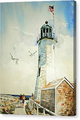 Scituate Light Canvas Print by P Anthony Visco