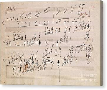 Score Sheet Of Moonlight Sonata Canvas Print by Ludwig van Beethoven