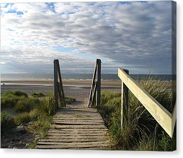 Scotland Findhorn Boardwalk Canvas Print by Yvonne Ayoub