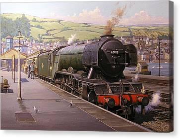 Scotsman At Kingswear Canvas Print by Mike  Jeffries