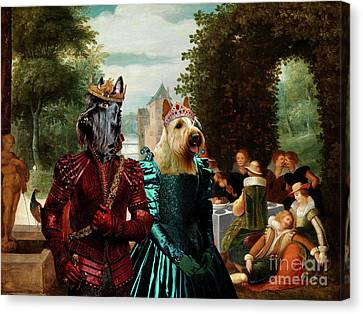 Scottish Terrier  Art Canvas Print -  An Elegant  Music Party Canvas Print by Sandra Sij