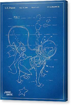 Scuba Doggie Patent Artwork 1893 Canvas Print by Nikki Marie Smith