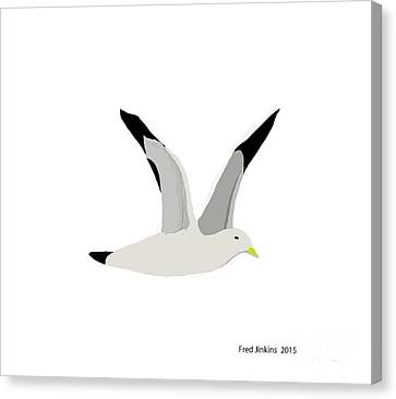 Sea Gull Flying Canvas Print by Fred Jinkins