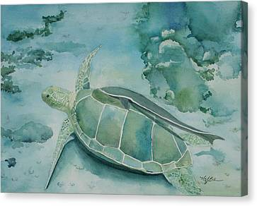 Sea Turtle And Friend Canvas Print by Mary Benke