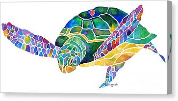 Sea Turtle Celebration 4 Prints Only Canvas Print by Jo Lynch