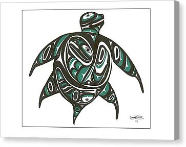 Sea Turtle Green Canvas Print by Speakthunder Berry