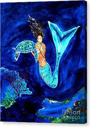 Sea Turtle Kiss Canvas Print by Leslie Allen