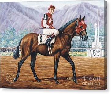 Seabiscuit At Santa Anita Canvas Print by Thomas Allen Pauly