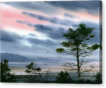 Seacoast Winter Sunset Canvas Print by James Williamson