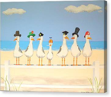 Seagulls With Hats Canvas Print by Winton Bochanowicz
