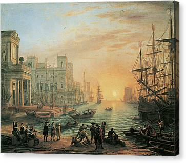 Seaport At Sunset Canvas Print by Claude Lorrain