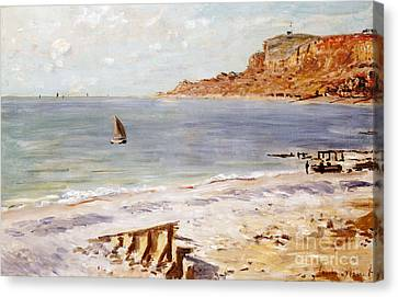 Seascape At Sainte Adresse  Canvas Print by Claude Monet